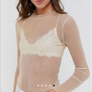 Urban Outfitters sparkly metallic sheer mesh top